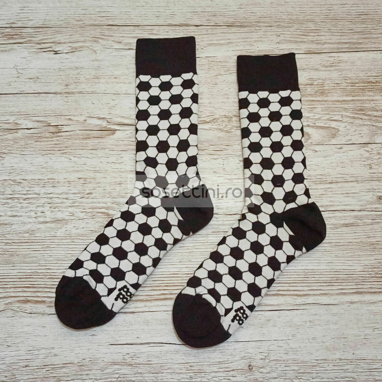 Sosete lungi colorate cu model minge fotbal, sosete vesele minge fotbal happy socks