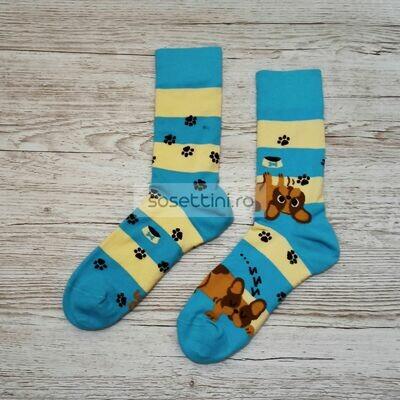 Sosete lungi colorate cu model buldog si labute, sosete vesele buldog si labute happy socks