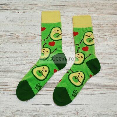 Sosete lungi colorate cu model avocado, sosete vesele avocado happy socks