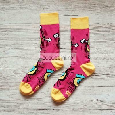 Sosete lungi colorate cu model animatii comice, sosete vesele animatii comice happy socks