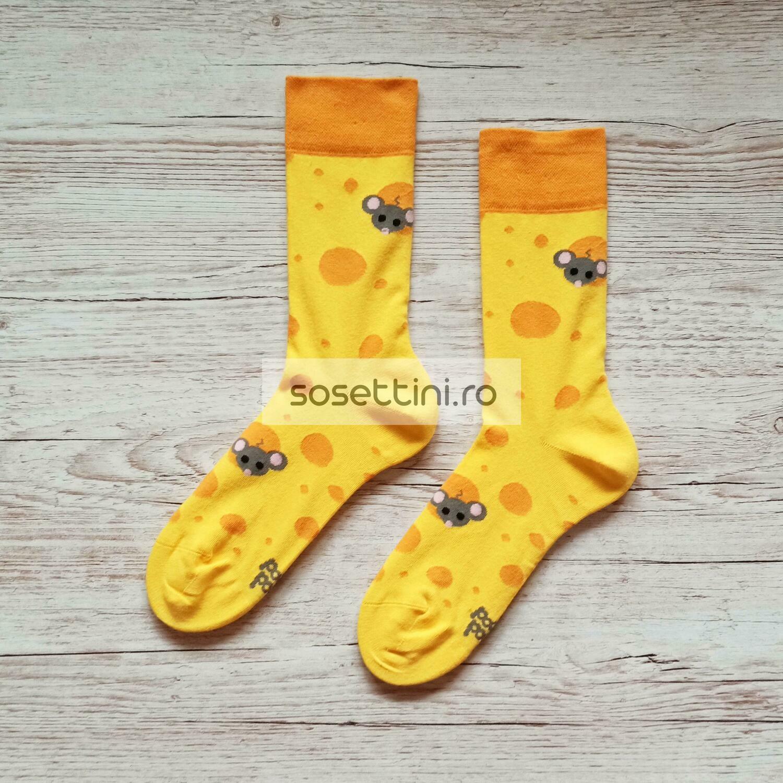 Sosete lungi colorate cu model soricei, sosete vesele soricei happy socks