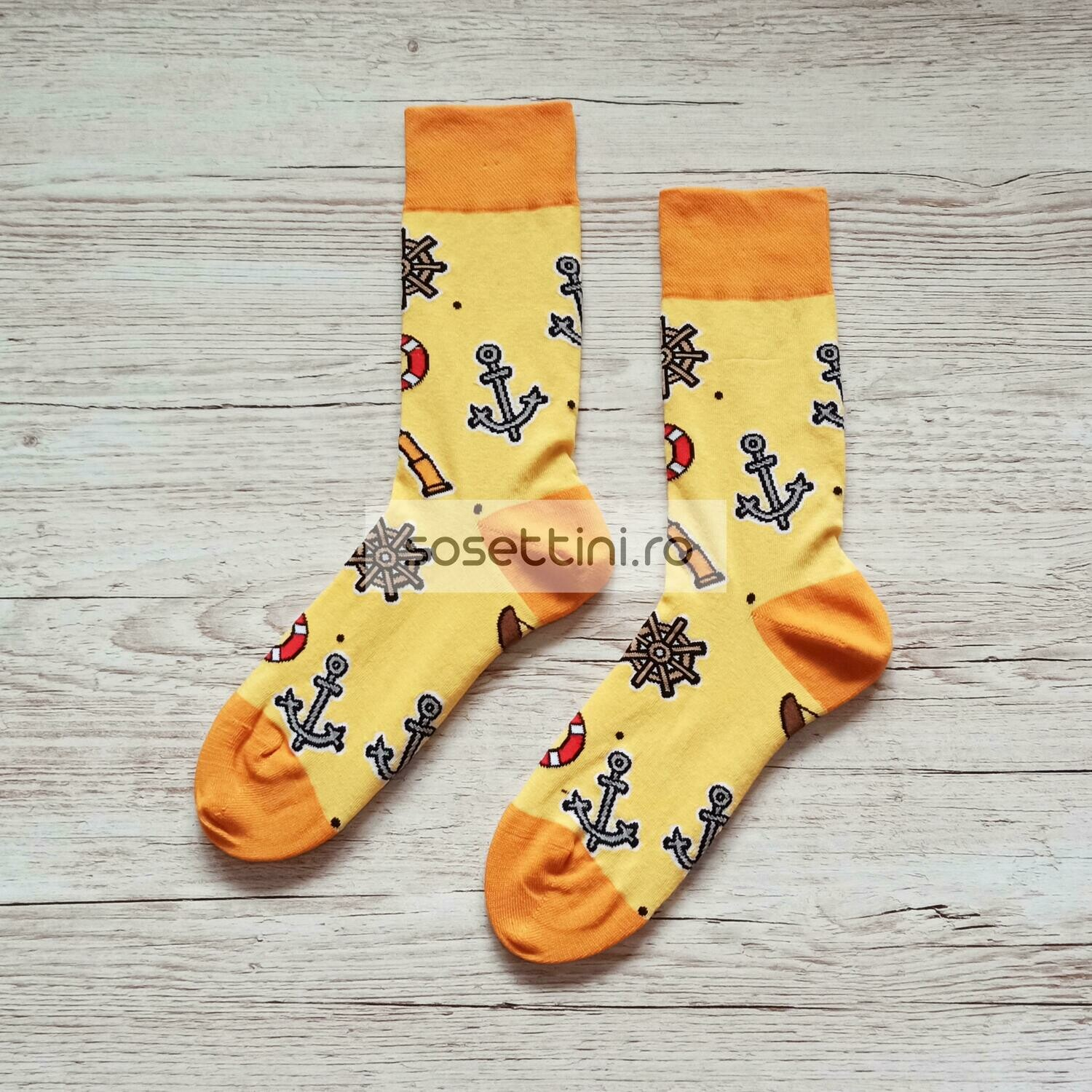 Sosete lungi colorate cu model marinar, sosete vesele marinar happy socks