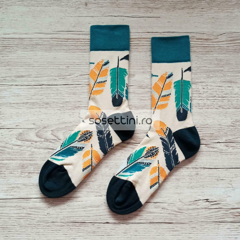 Sosete lungi colorate cu model hippy, sosete vesele hippy happy socks