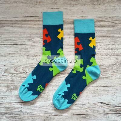 Sosete lungi colorate cu model puzzle, sosete vesele puzzle happy socks