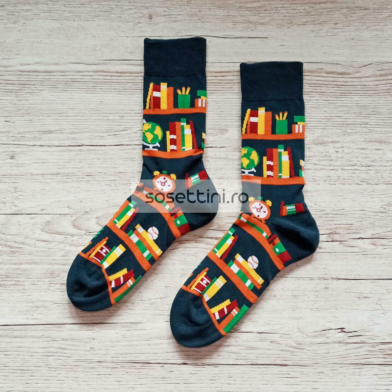 Sosete lungi colorate cu model biblioteca, sosete vesele biblioteca happy socks