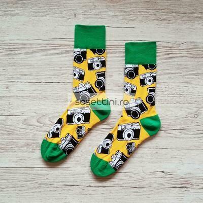 Sosete lungi colorate cu model fotografie, sosete vesele fotografie happy socks