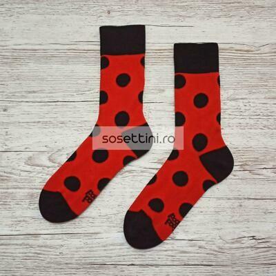 Sosete lungi colorate cu model buburuza, sosete vesele buburuza happy socks