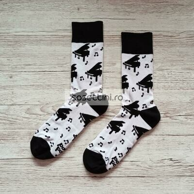 Sosete lungi colorate cu model pian, sosete vesele pian happy socks