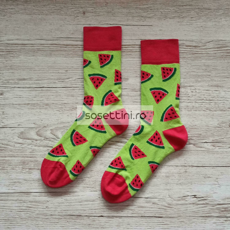 Sosete lungi colorate cu model pepene, sosete vesele pepene happy socks