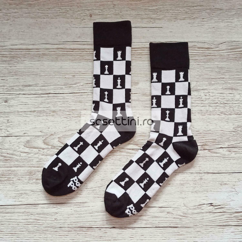 Sosete lungi colorate cu model sah, sosete vesele sah happy socks