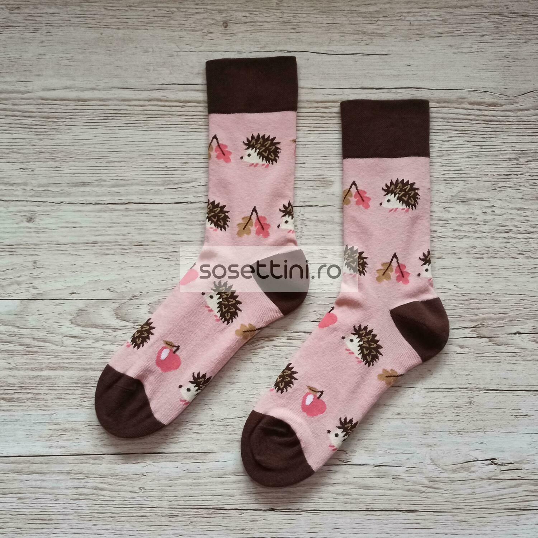 Sosete lungi colorate cu model arici, sosete vesele arici happy socks