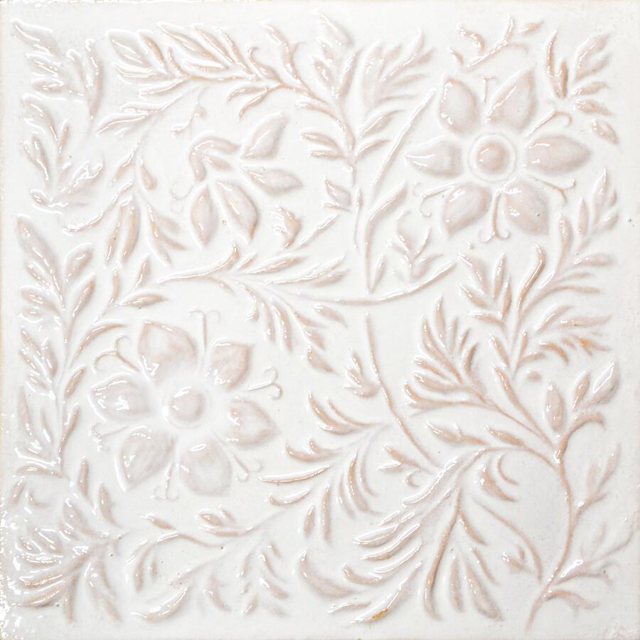 Изразец Растительный, белый. Размер 200х200 мм
