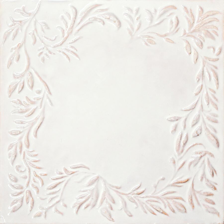 Изразец Растительный (рамка), белый. Размер 200х200 мм
