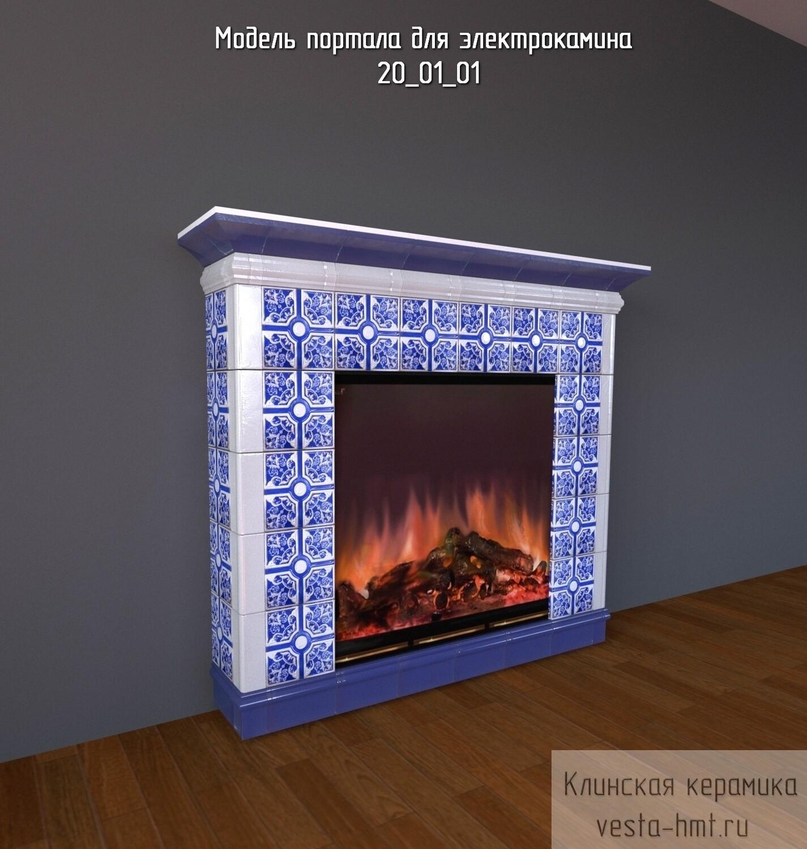 Комплект изразцов для банного портала и электрокамина. Синий