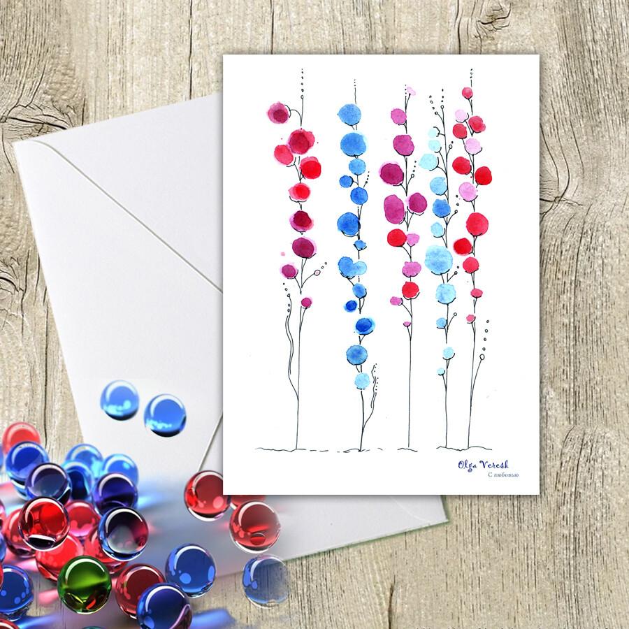 Поздравительная открытка с диковинными цветами. 10х15 см