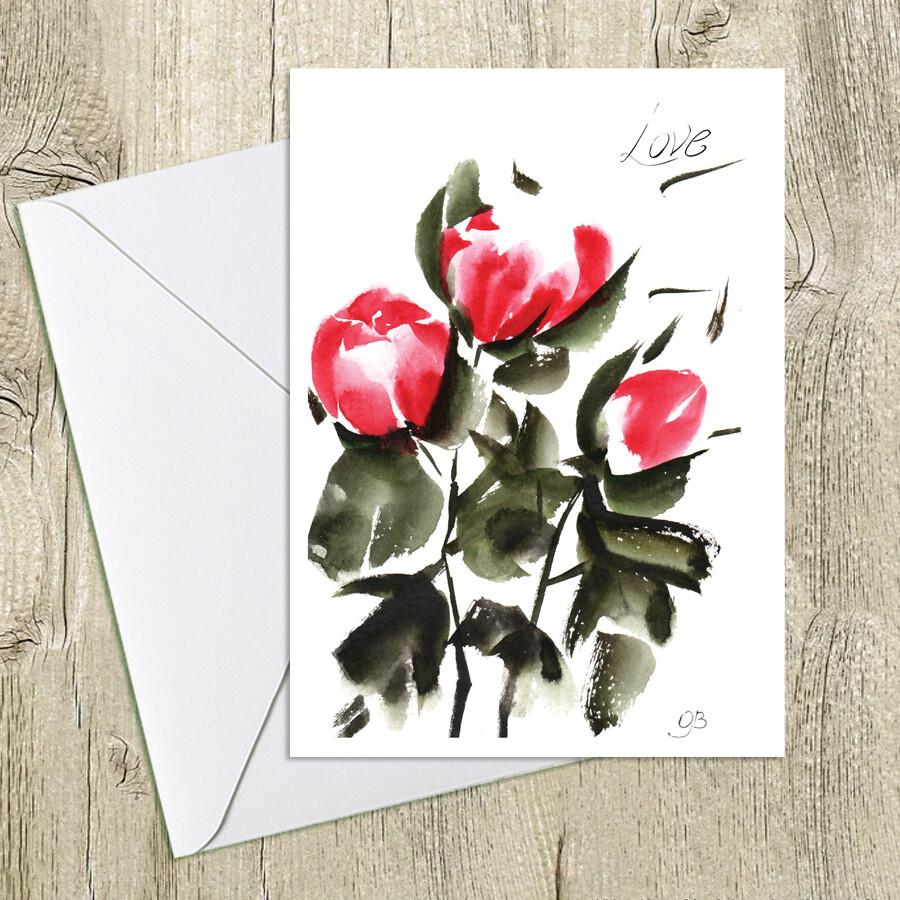 Открытка с цветами Пионами  для поздравления от всего сердца. 10х15 см