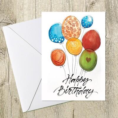 Открытка с шарами для поздравления с Днем Рождения. 10х15 см