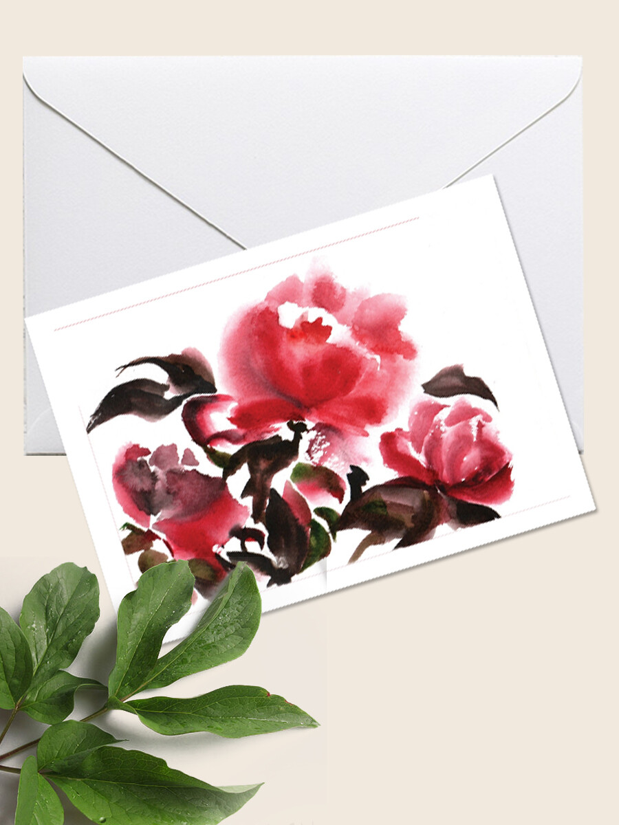 Открытка с цветами Пионами  для поздравления с праздником. 10х15 см