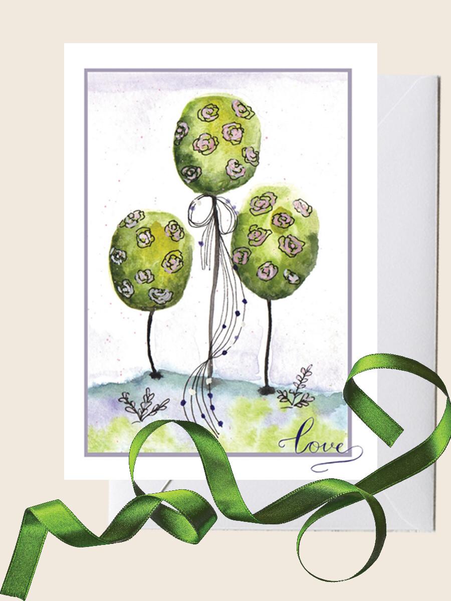 Открытка с фантастическими деревьями  для поздравления с праздником. 10х15 см