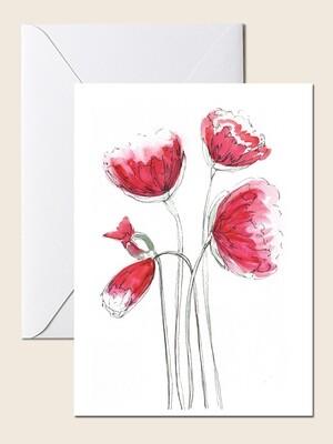 Открытка с красными цветами.  Открытка для поздравления и просто для подарка. 10х15 см