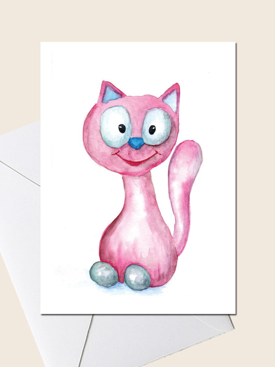 Открытка с розовым котом.  Открытка для поздравления и просто для подарка. 10х15 см