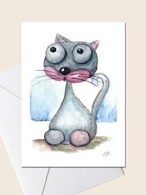 Открытка с серым котом.  Открытка для поздравления и просто для подарка. 10х15 см