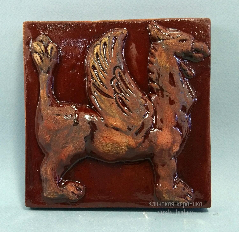 Изразец с Грифоном. Цвет - коричневая майолика. Для фасада, кухни, камина, пола. 150х150х14мм