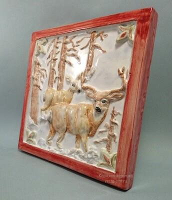 Изразец из коллекции Охота. Для каминов, печей, декора. 200х200х14мм