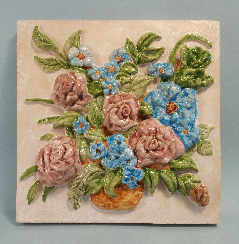 Изразец с цветами. Для каминов, печей, декора. 200х200х14мм