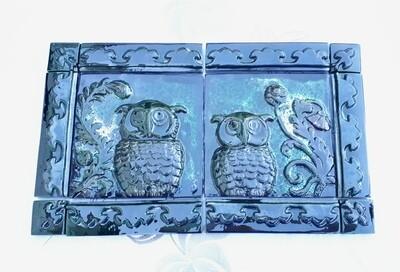 Панно с Совами. Керамика (изразцы) 30 см х 50 см