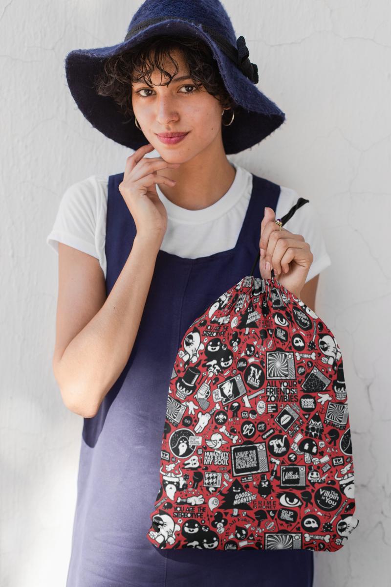 Red Anime Drawstring Bag