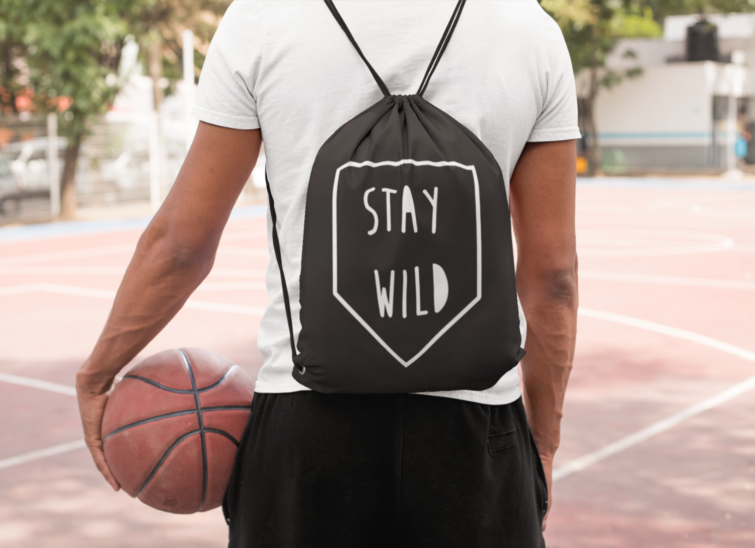Stay Wild Drawstring Bag