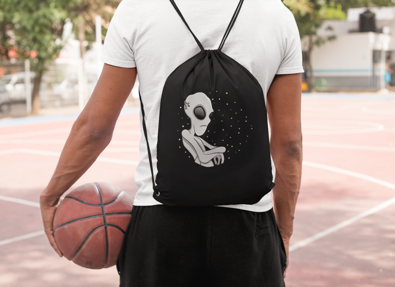 Angry Alien Drawstring Bag