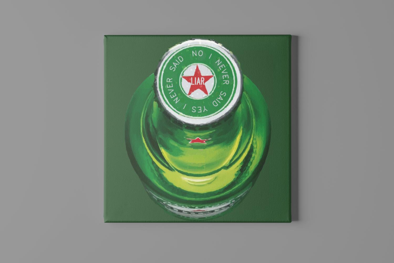 Tipsy Beer Bottle Canvas