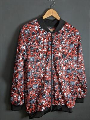 Red Anime AllOver Print Bomber Jacket