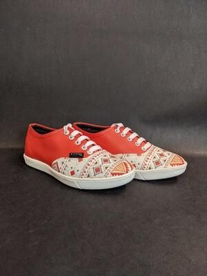Orange Tribal Printed Shoes