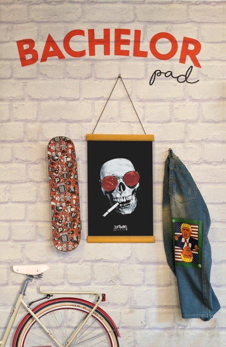 Smoking Skull Clip Canvas