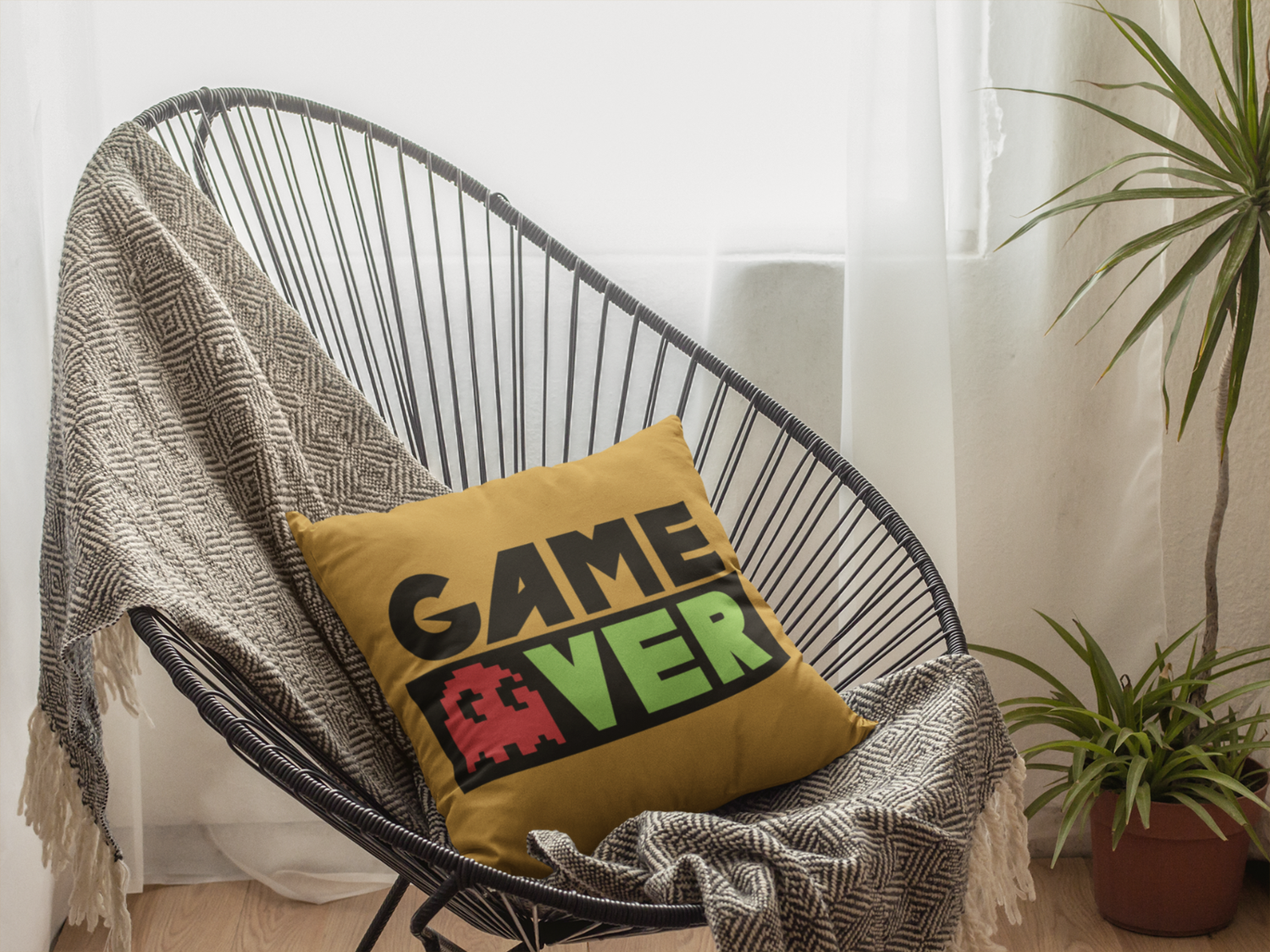 Game Over Beige Zipper Cushion Cover