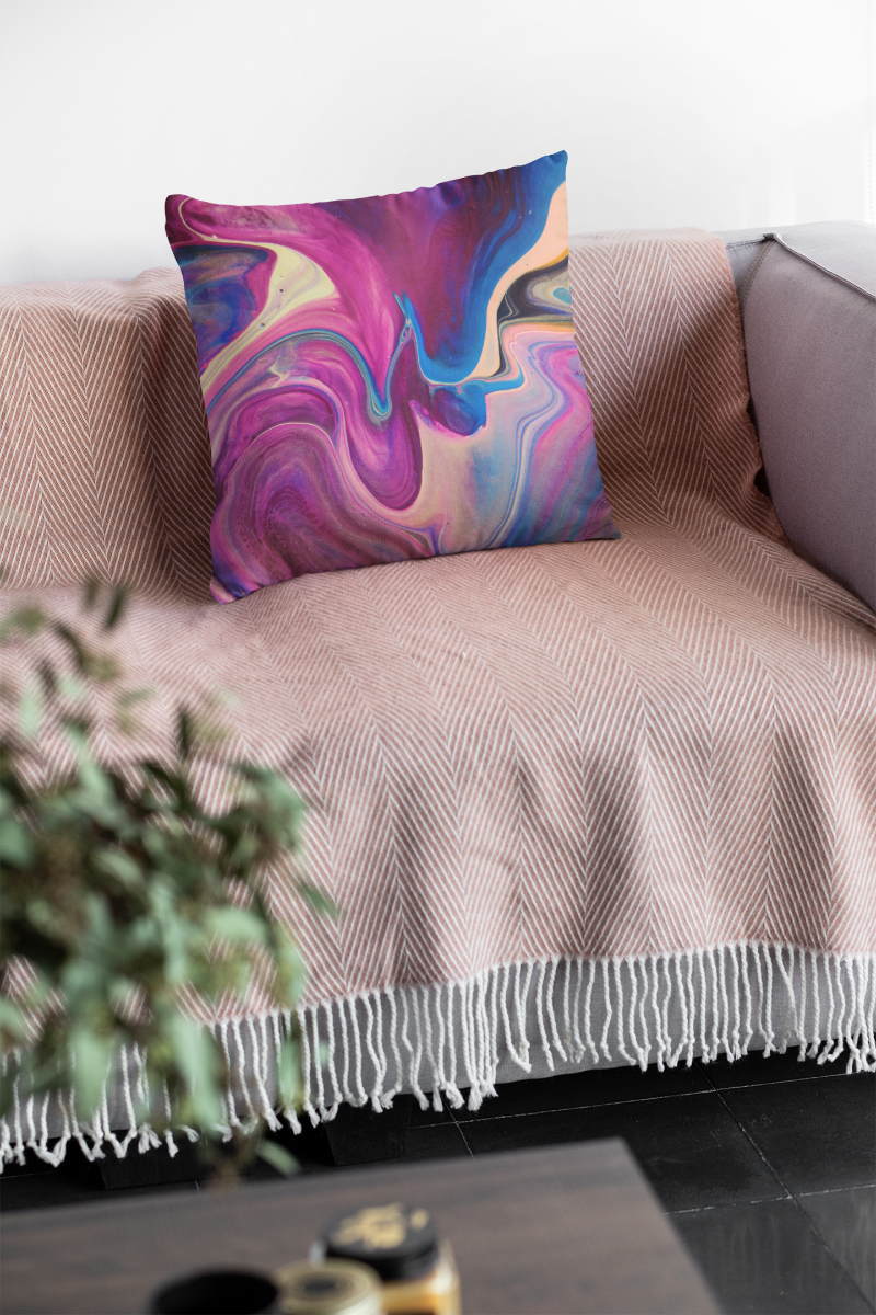Watercolor Marble Zipper Cushion Cover