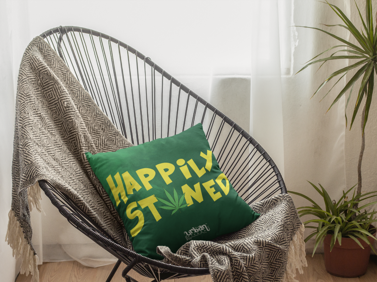 Happily Stoned Zipper Cushion Cover