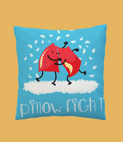 Pillow Fight Zipper Cushion Cover