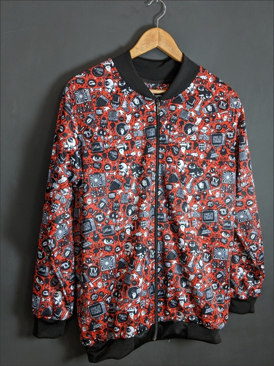 Red Anime AllOver Print Bomber Jacket