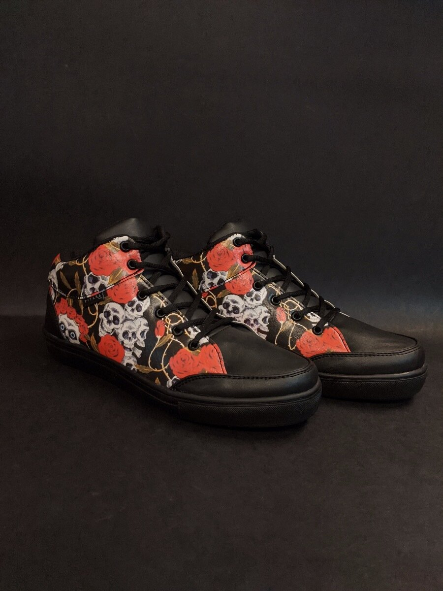 Skull And Roses Printed Shoes