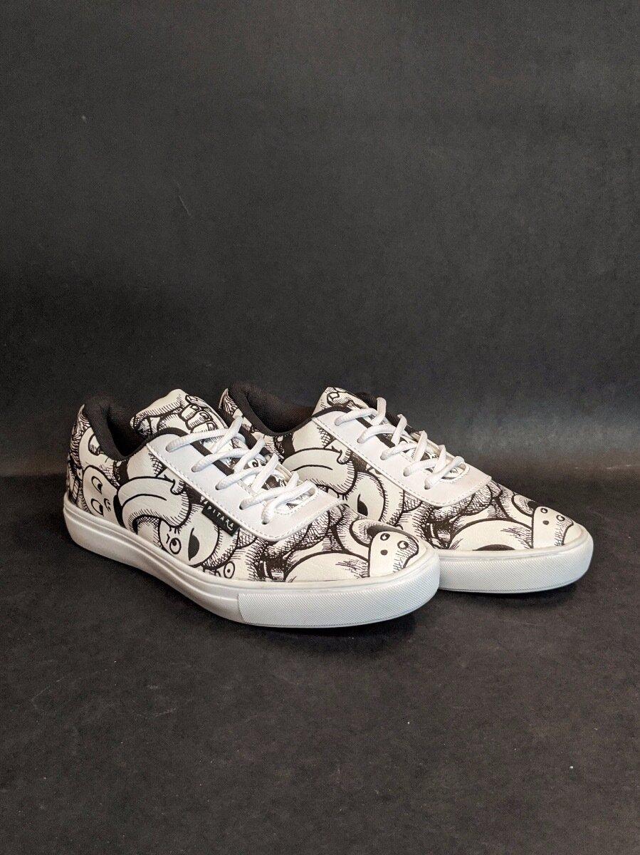 White Anime Printed Shoes