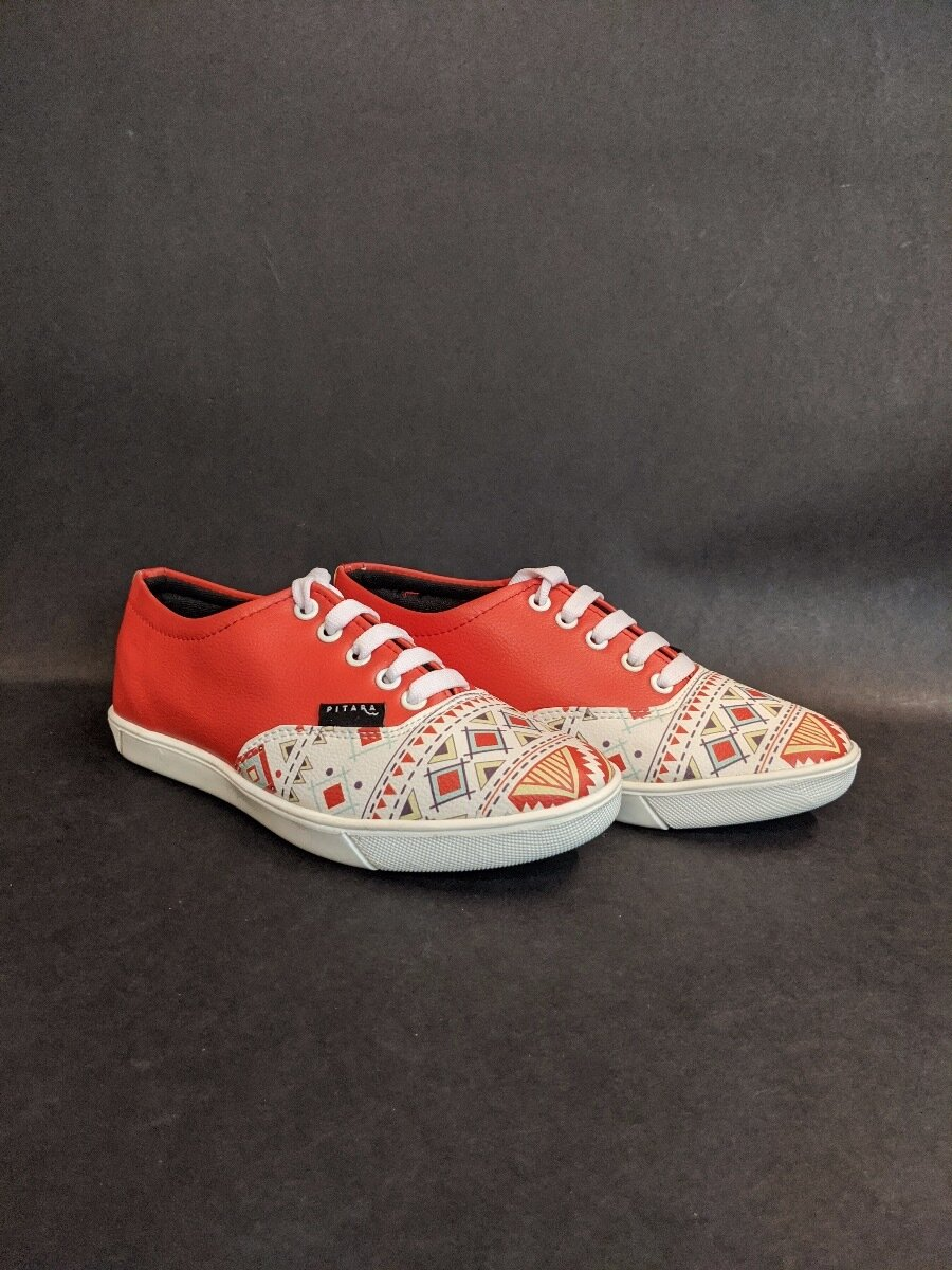 Orange Tribal Printed Shoes