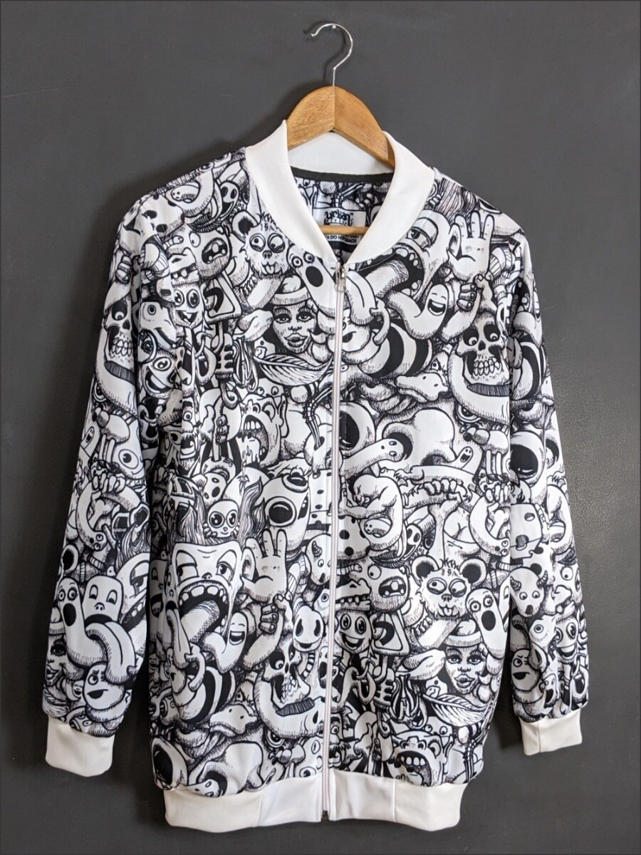 White Anime AllOver Print Bomber Jacket