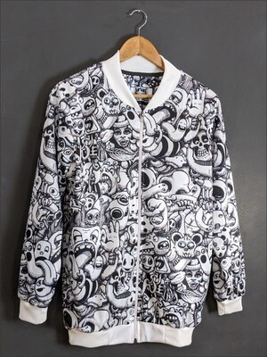 White Anime AllOver Print Bomber Jacket