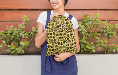 Robotic Yellow Drawstring Bag
