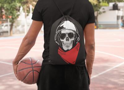 Skull Rider Drawstring Bag