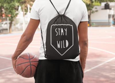 Stay Wild Drawstring Bag